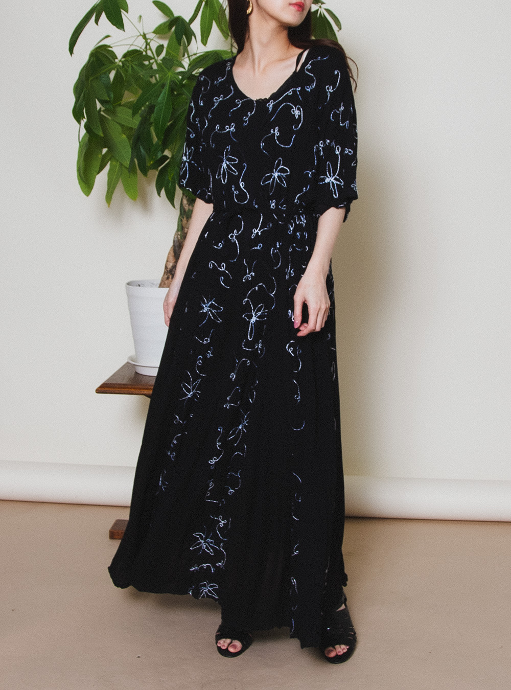 Black Embroidery Ethnic Dress