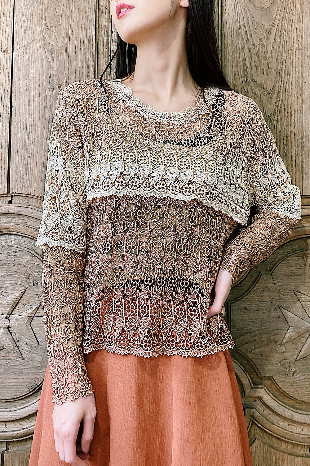 Brown Gradation Lace Tops