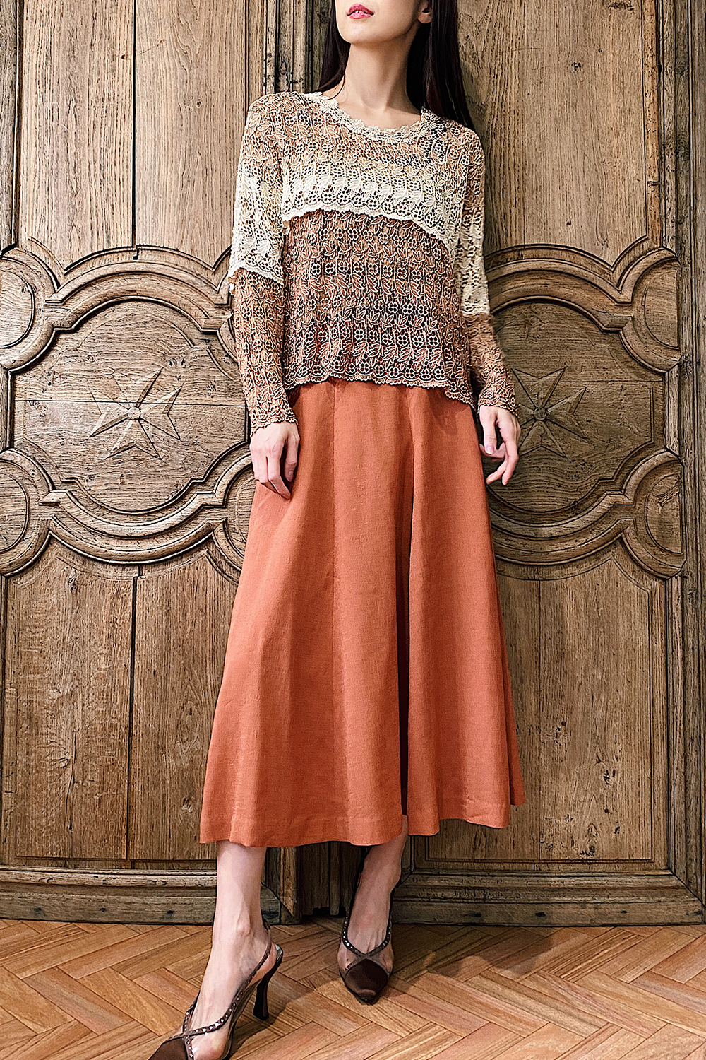 Terracotta Orange Flare Skirt