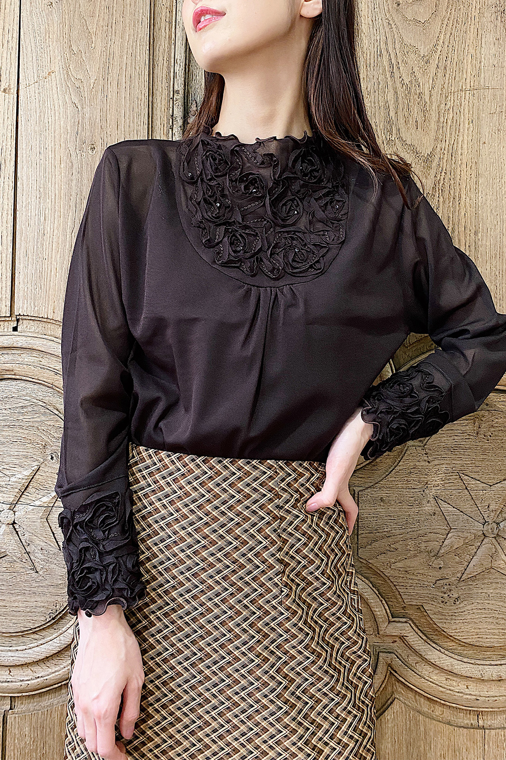 Brown Sheer Flower Motif Tops