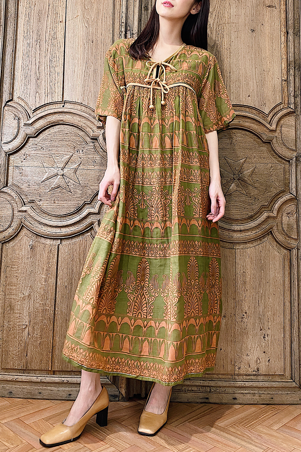 Moss Green × Orange Ethnic Print Dress