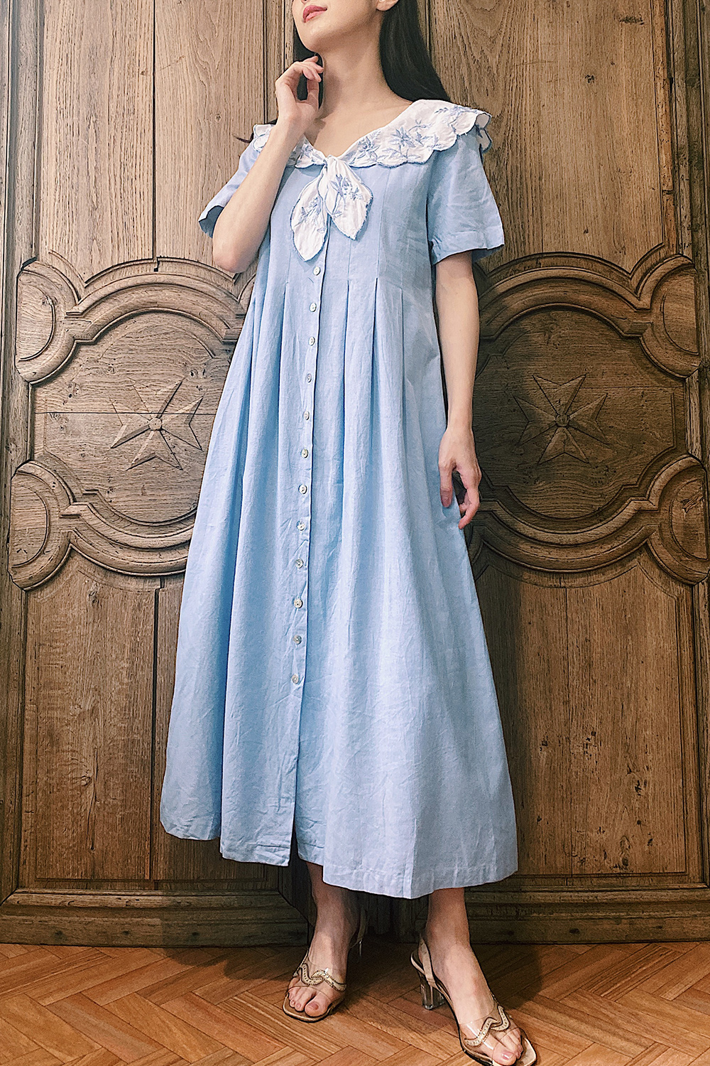 Light Blue Embroidery Sailor Collar Dress
