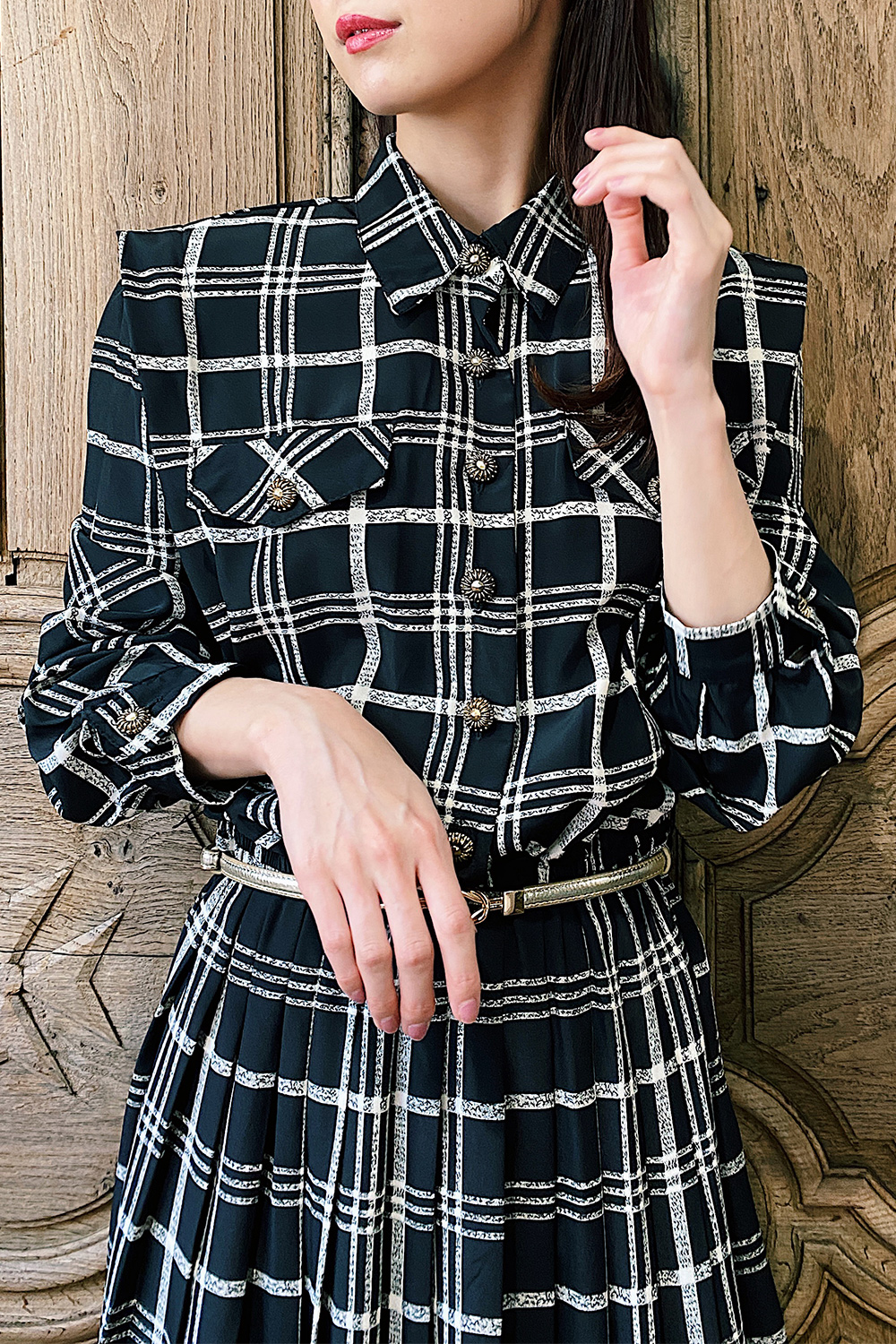 Monotone Check Gold Button Dress