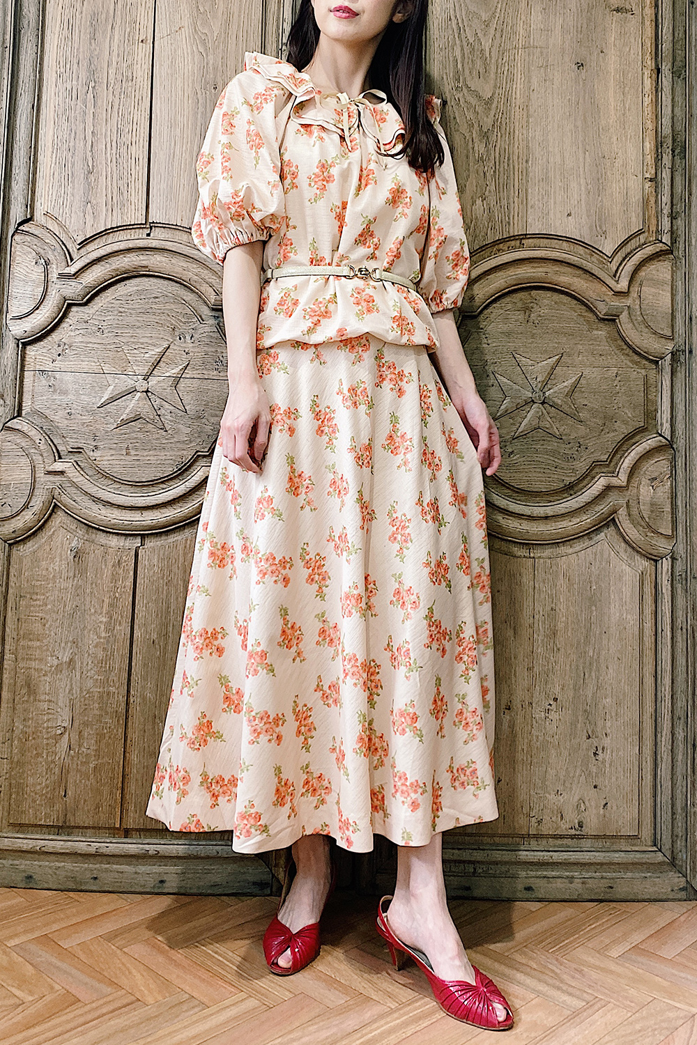 1970's Light Orange Flower Print Dress