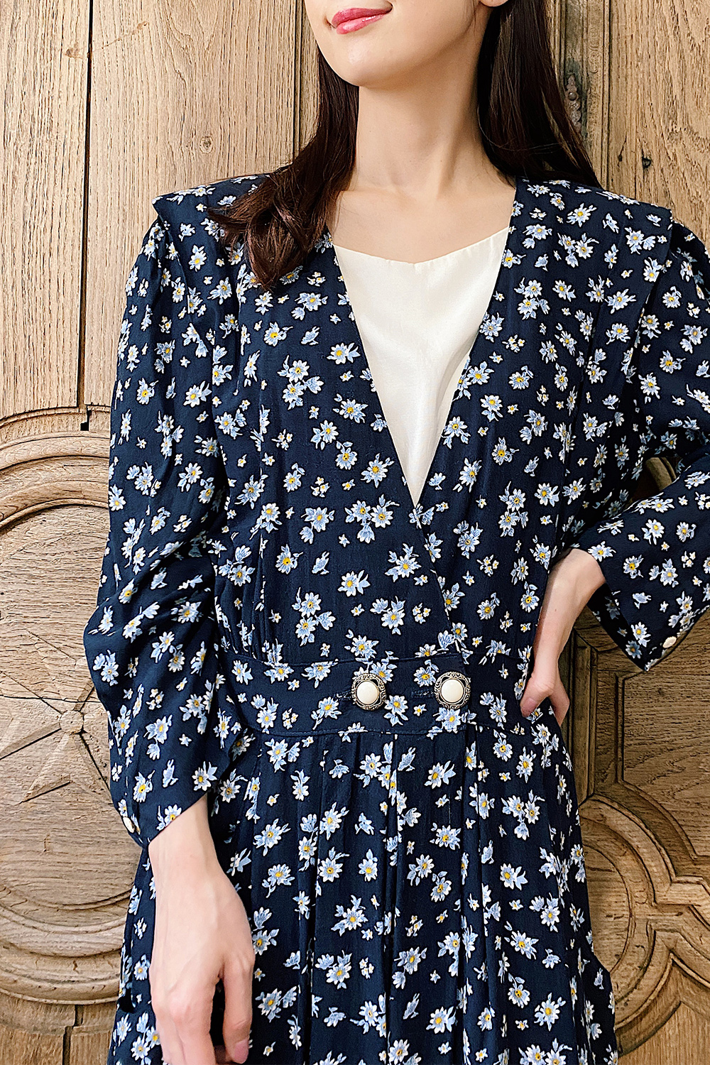 Navy Flower Perl Button Dress