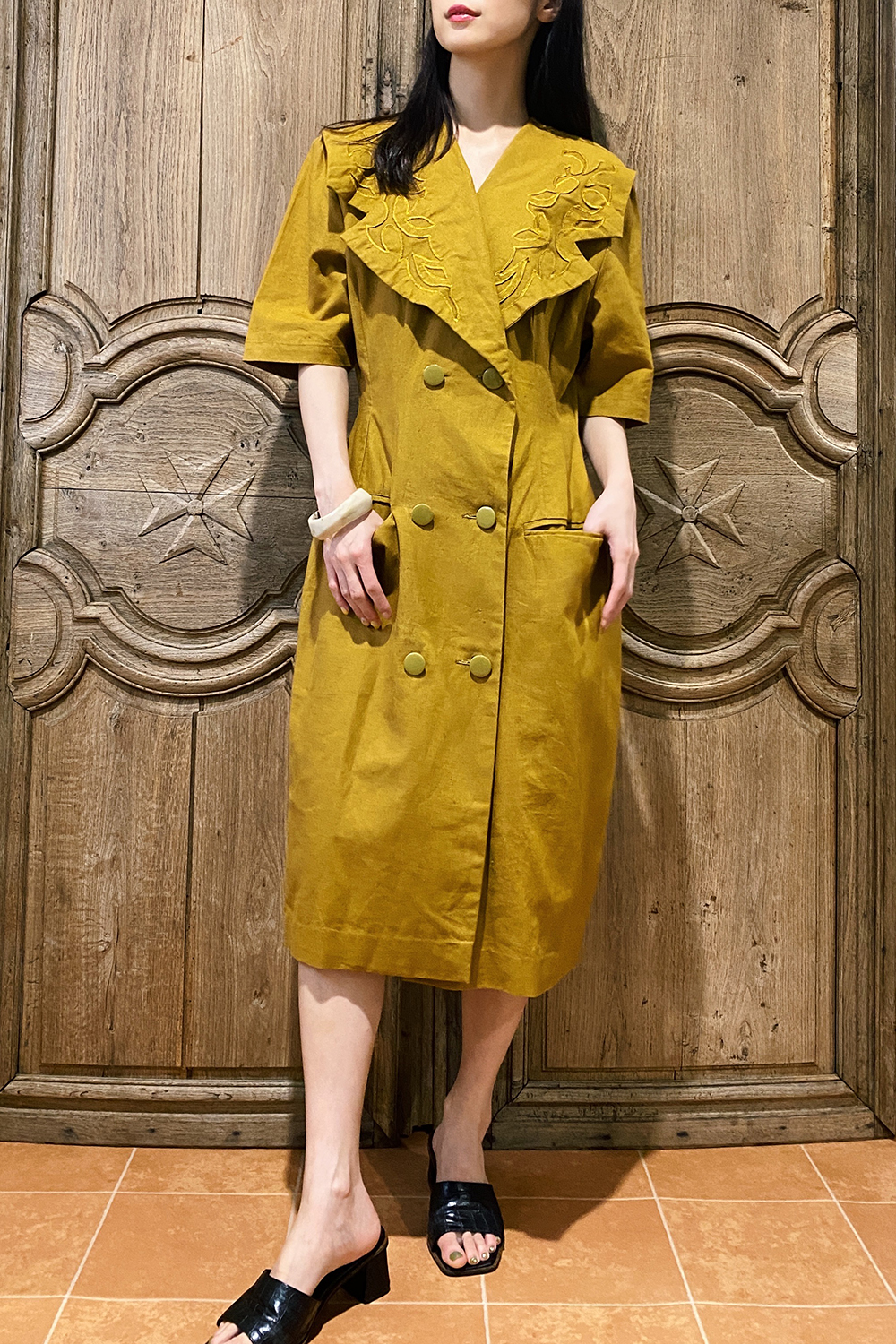 Mustard Yellow Design Big Collar Dress