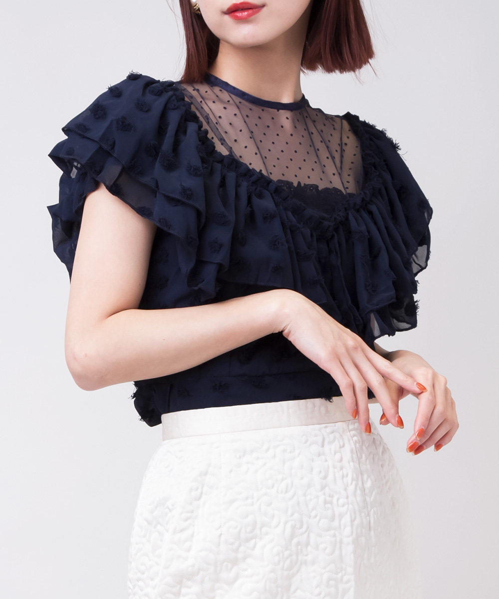 【SELECT ITEM】 Lace Big Frill Tulle Blouse -Navy-