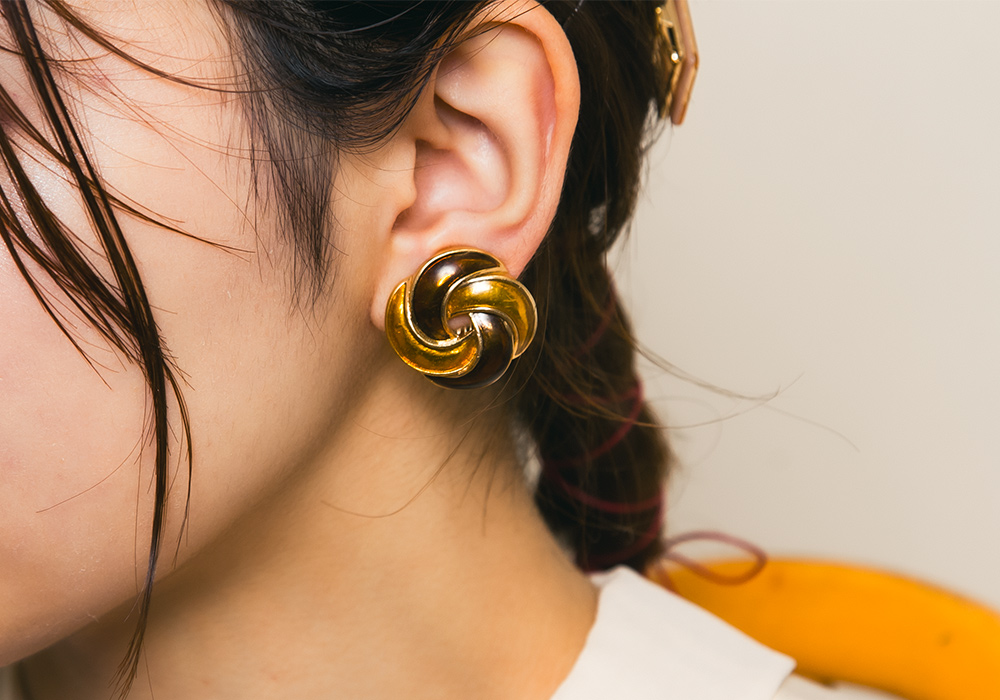 Yellow × Brown Design Earring