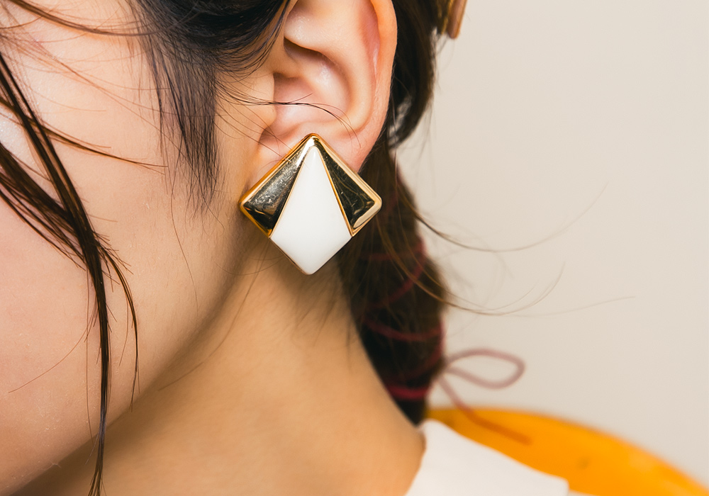 Gold × White Square Design Earring