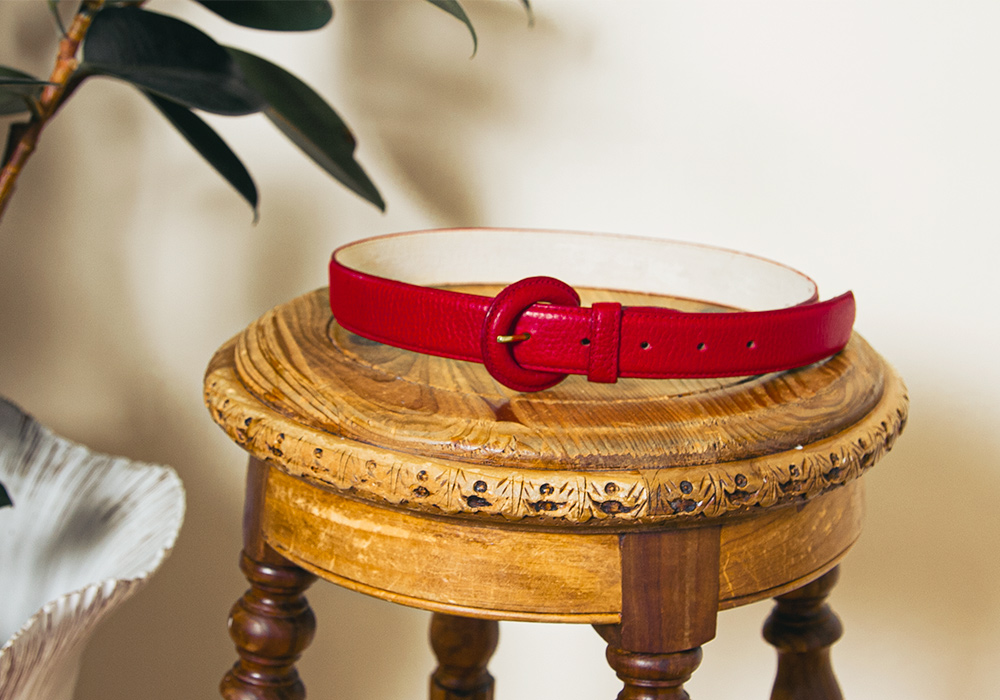 Red Leather Design Belt