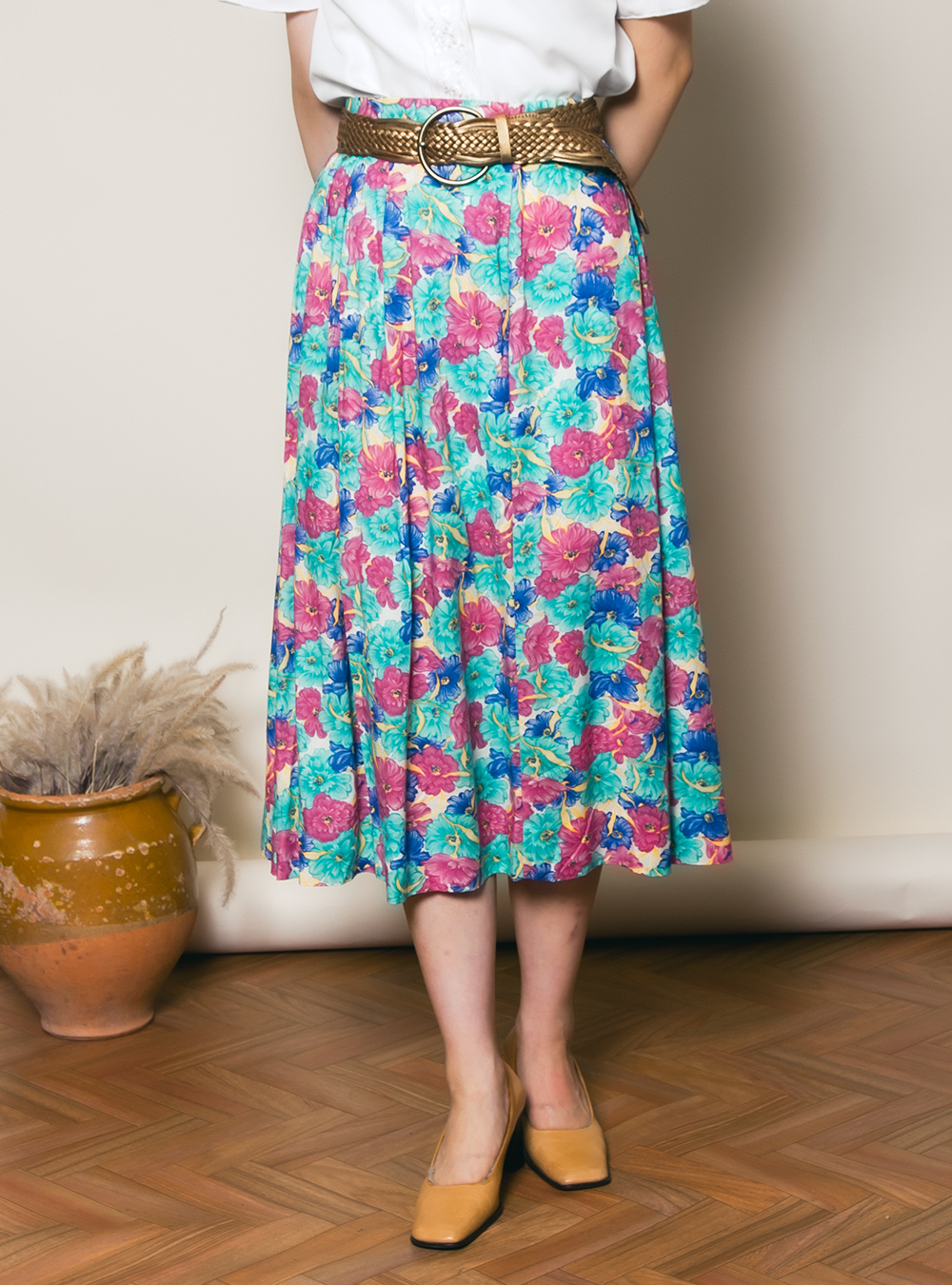 Vivid Flower Design Skirt