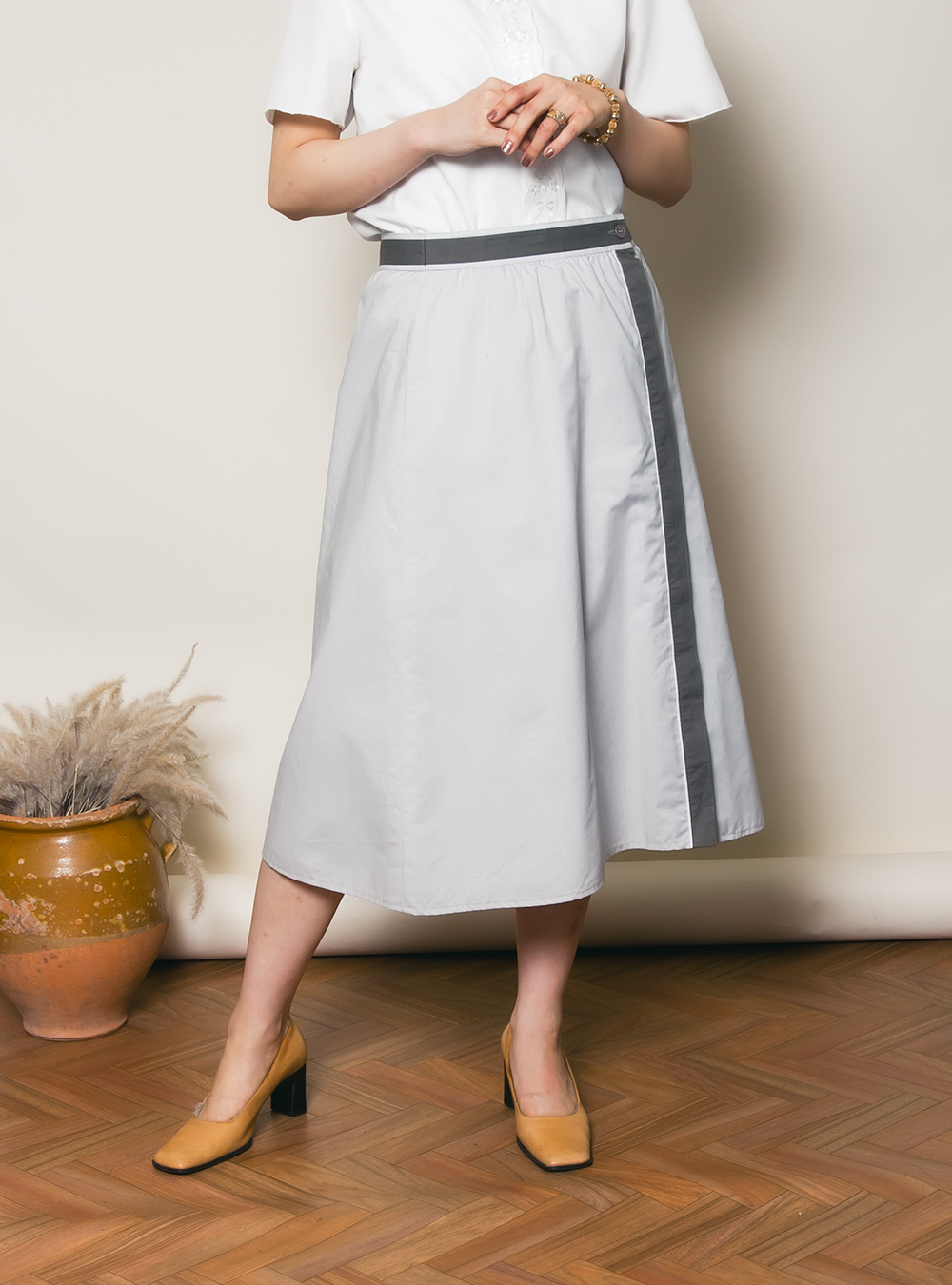 EURO Gray Charcoal Line Wrap Skirt