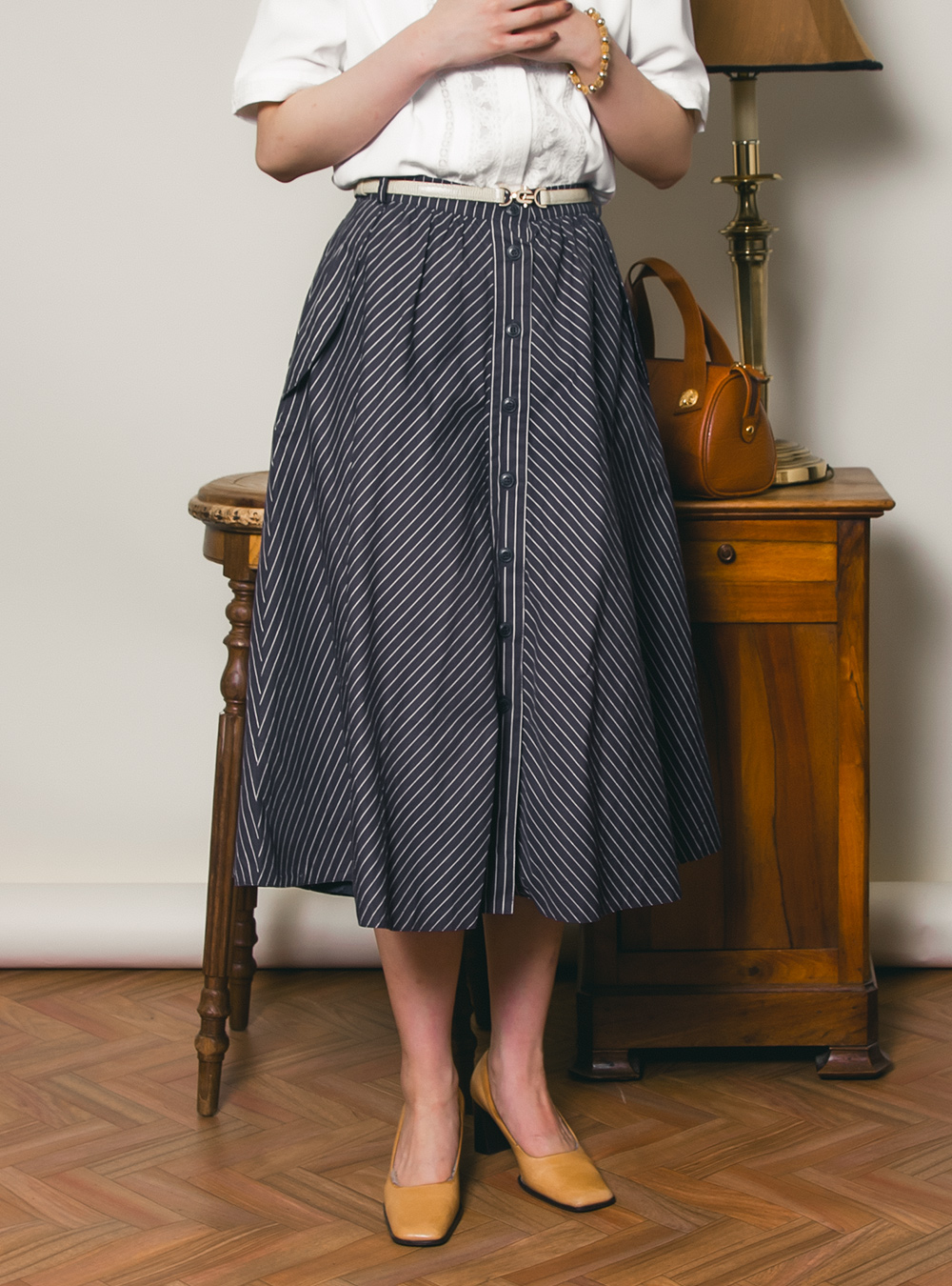 EURO Stripe Design Flare Skirt