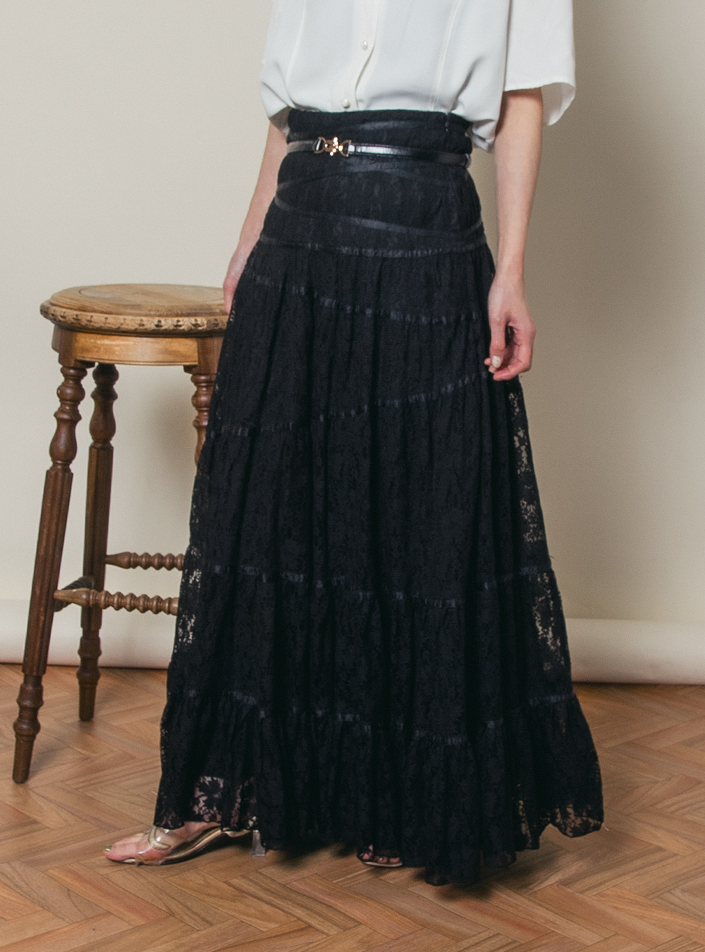 EURO Black Total Lace Flare Skirt