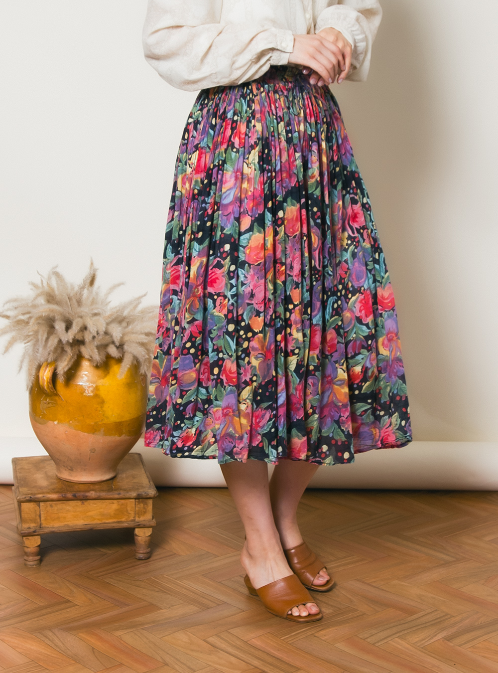 Art Flower Print Sheer Skirt