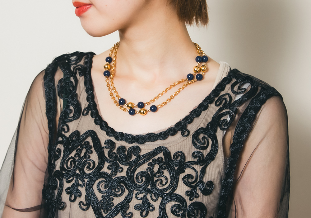 Gold × Navy Bijou  Necklace