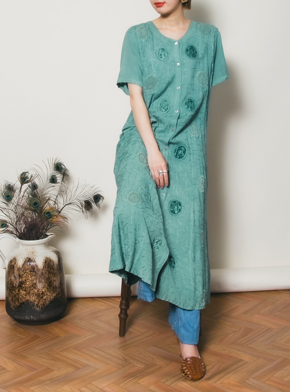 Emerald Green Embroidery Dress