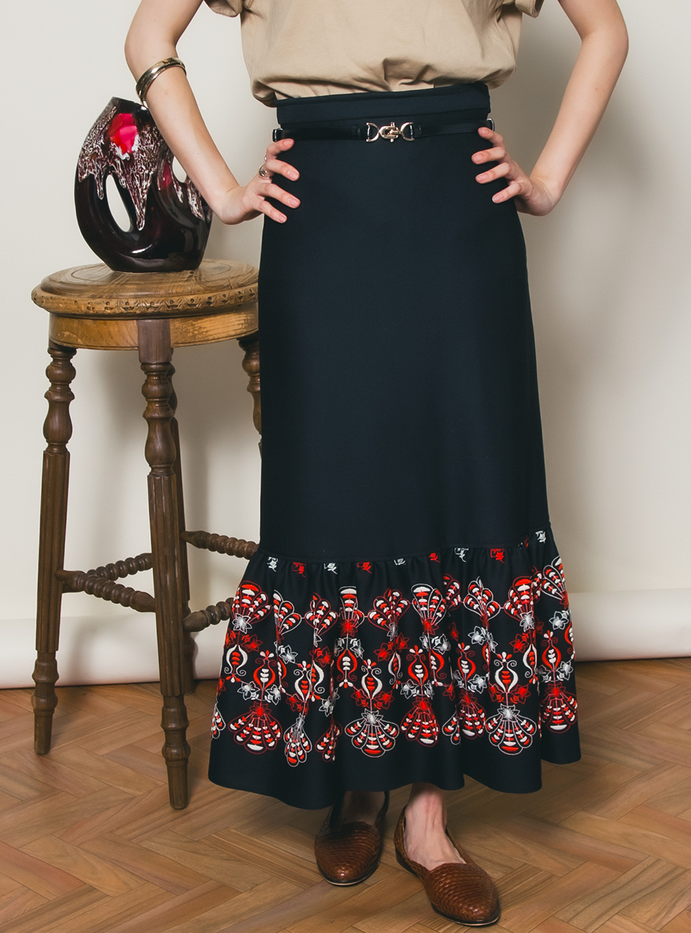 EURO Black Embroidery Design Long Skirt