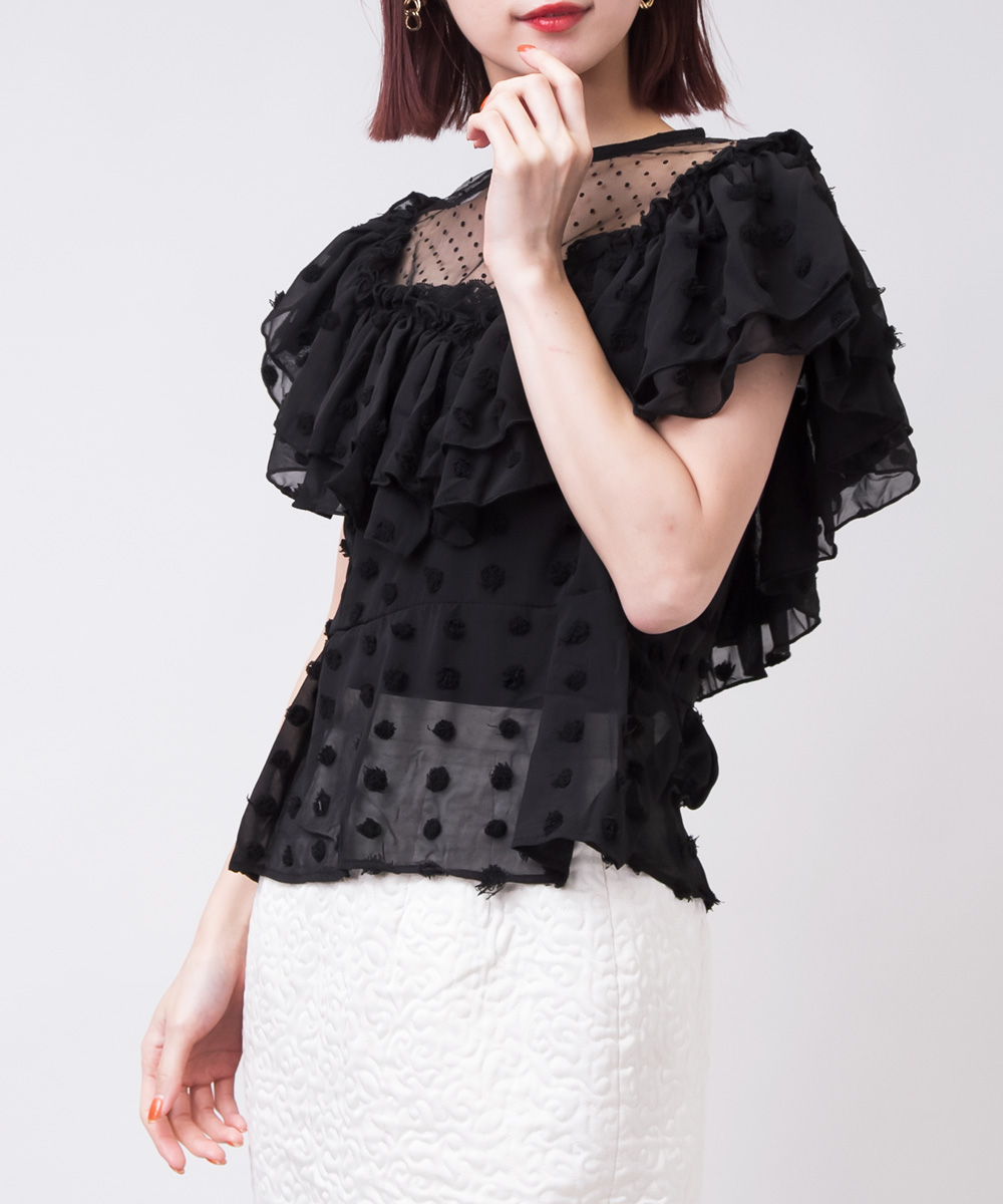 【SELECT ITEM】 Lace Big Frill Tulle Blouse -Black-