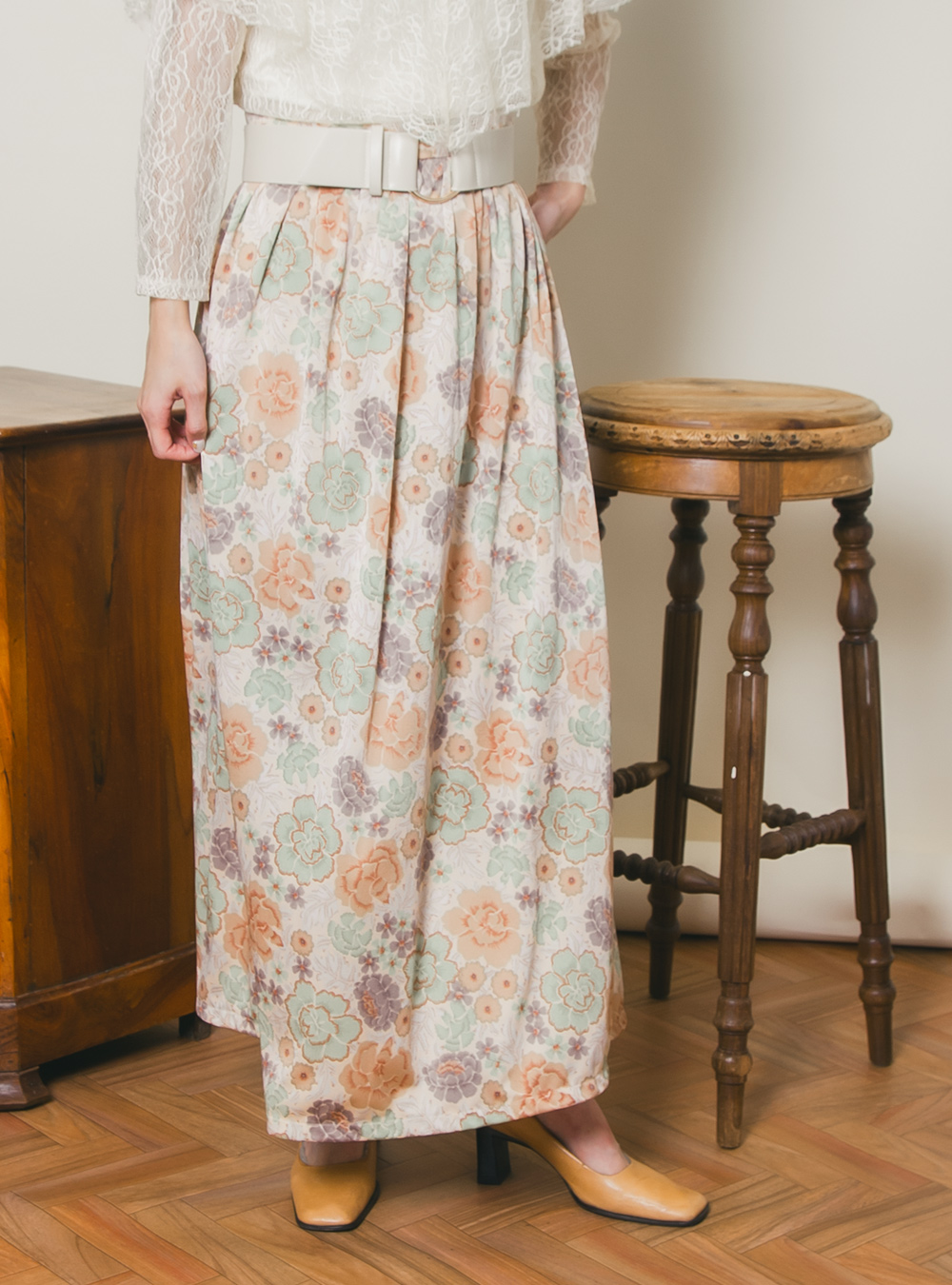 Flower Design Print Skirt