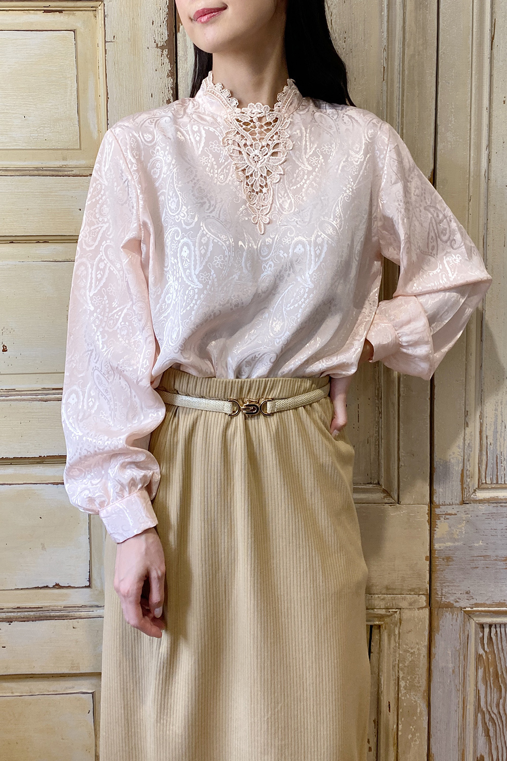 1970's Pale Pink Design Lace Blouse