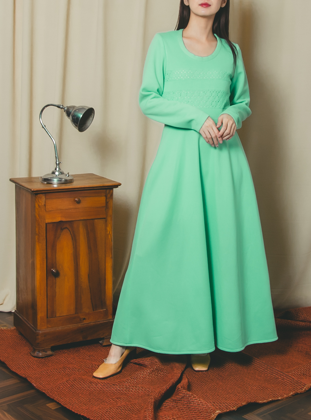 1970's Lime Green Long  Dress