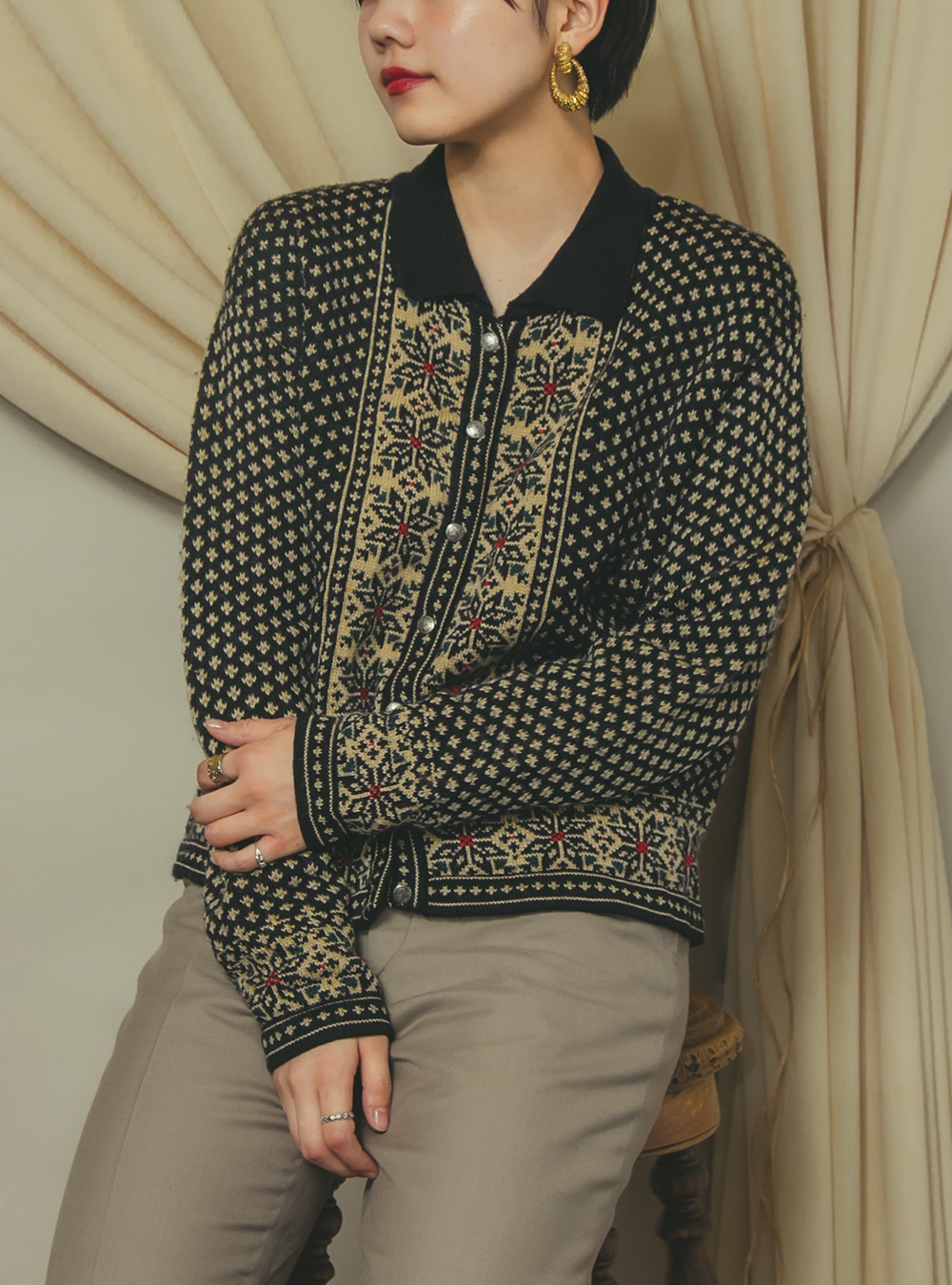 EURO Black Exotic Flower Embroidery Cardigan