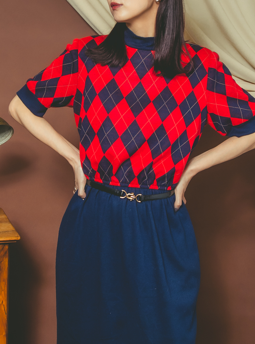 1970's Red × Navy Knit Dress