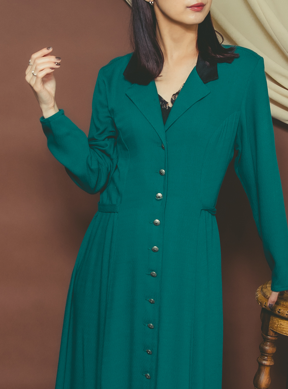 Dark Green Design Dress