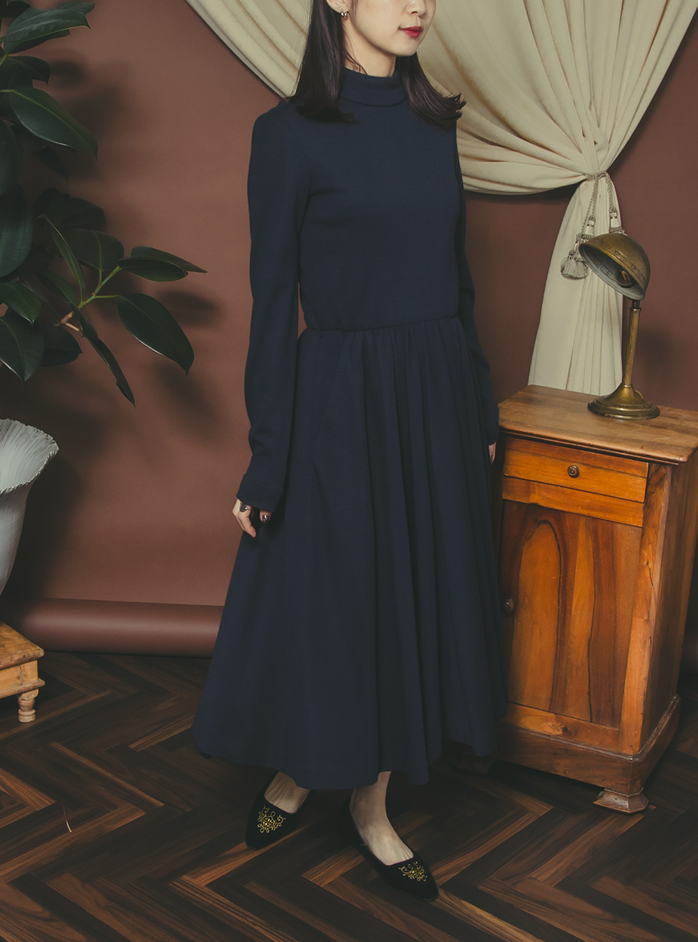 1970's Navy Button Design Maxi Dress