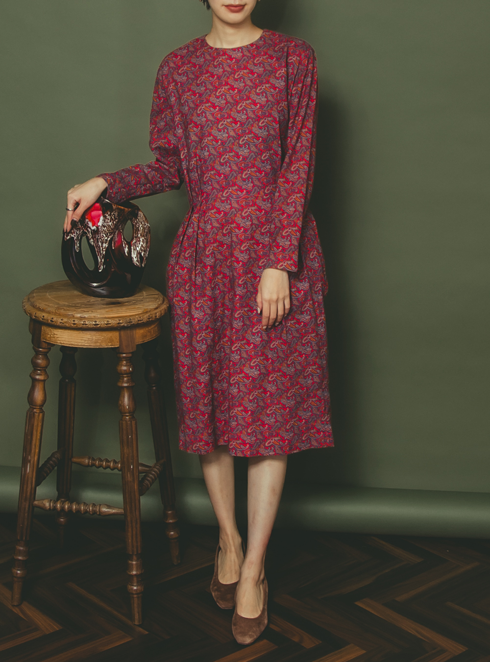 Red Paisley Design Print Dress
