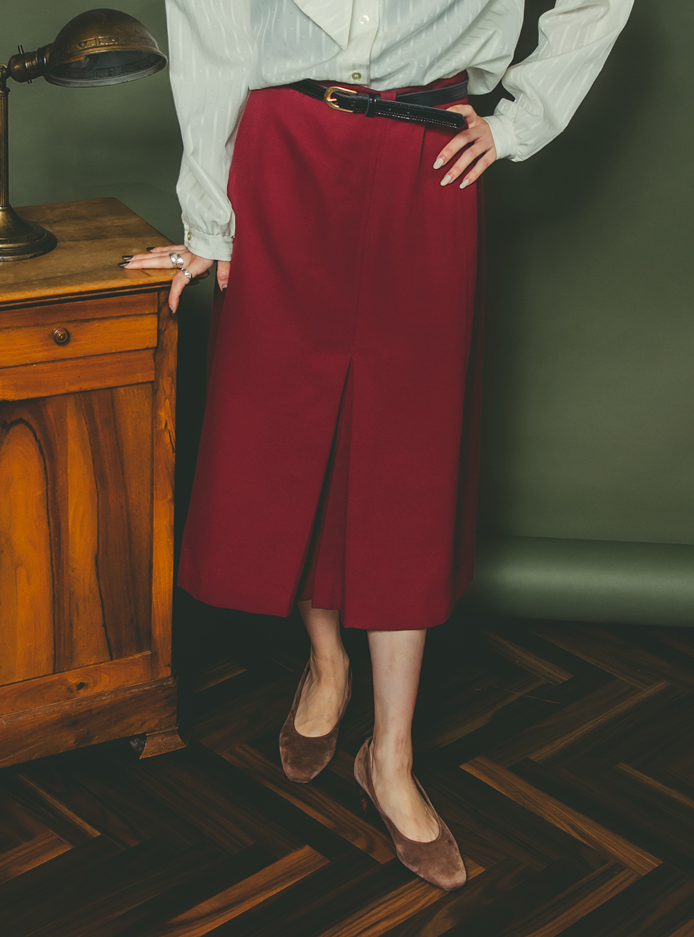 Wine Red Design Skirt