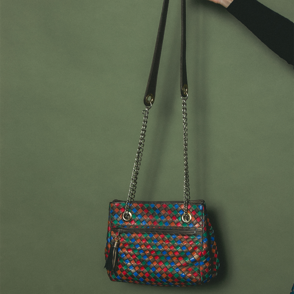 Multi Color Leather Knitting Bag