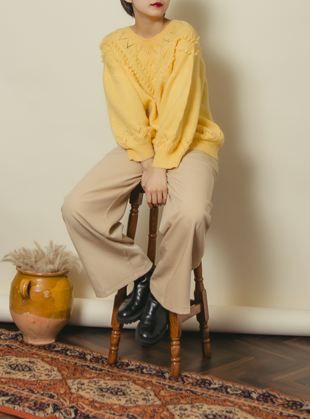 Dusty Yellow Design Knit
