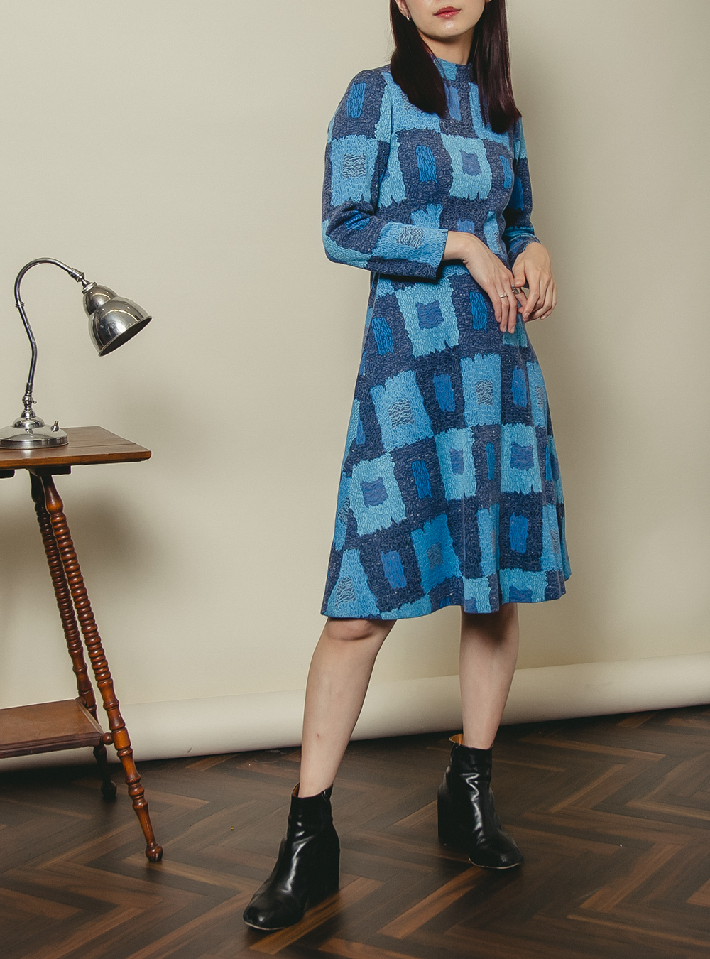 Blue Check Design Textile Dress