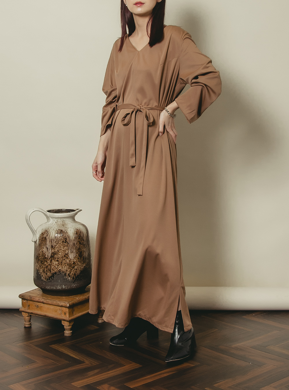1970's Brown Design Long Dress