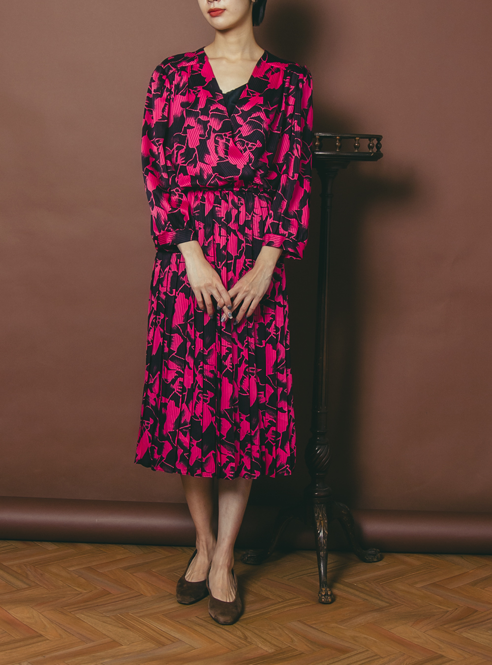 Pink × Black Flower Design Dress