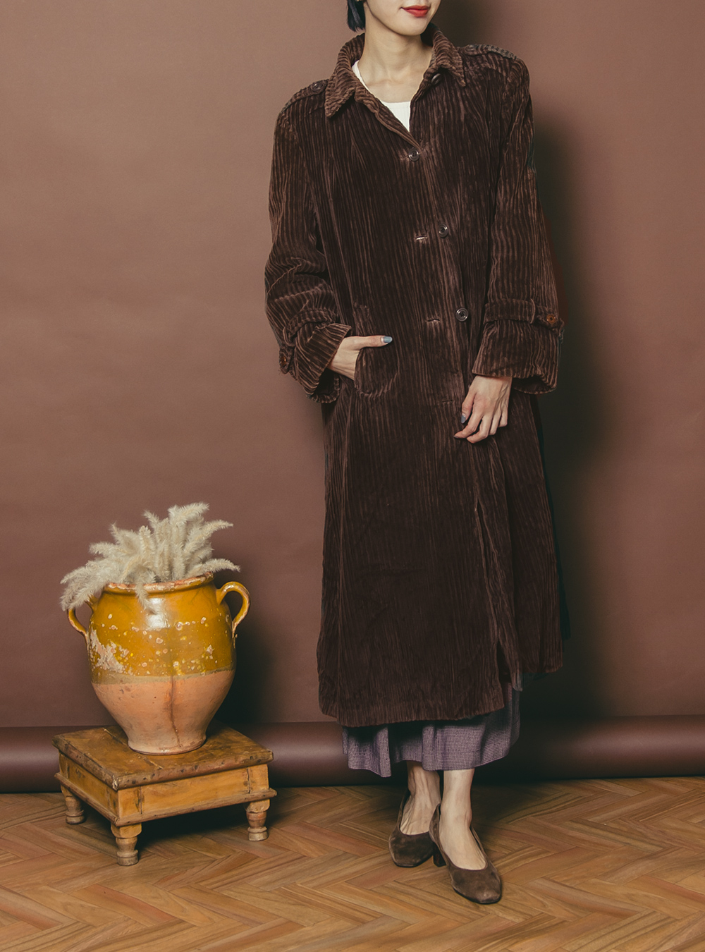 EURO 1970's Dark Brown Design Corduroy Coat