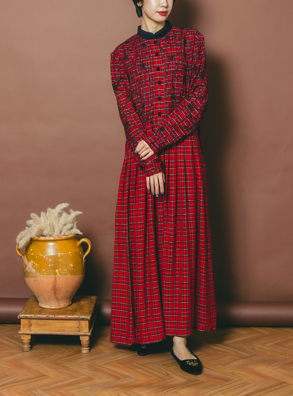 Red Check Flower Embroidery Dress