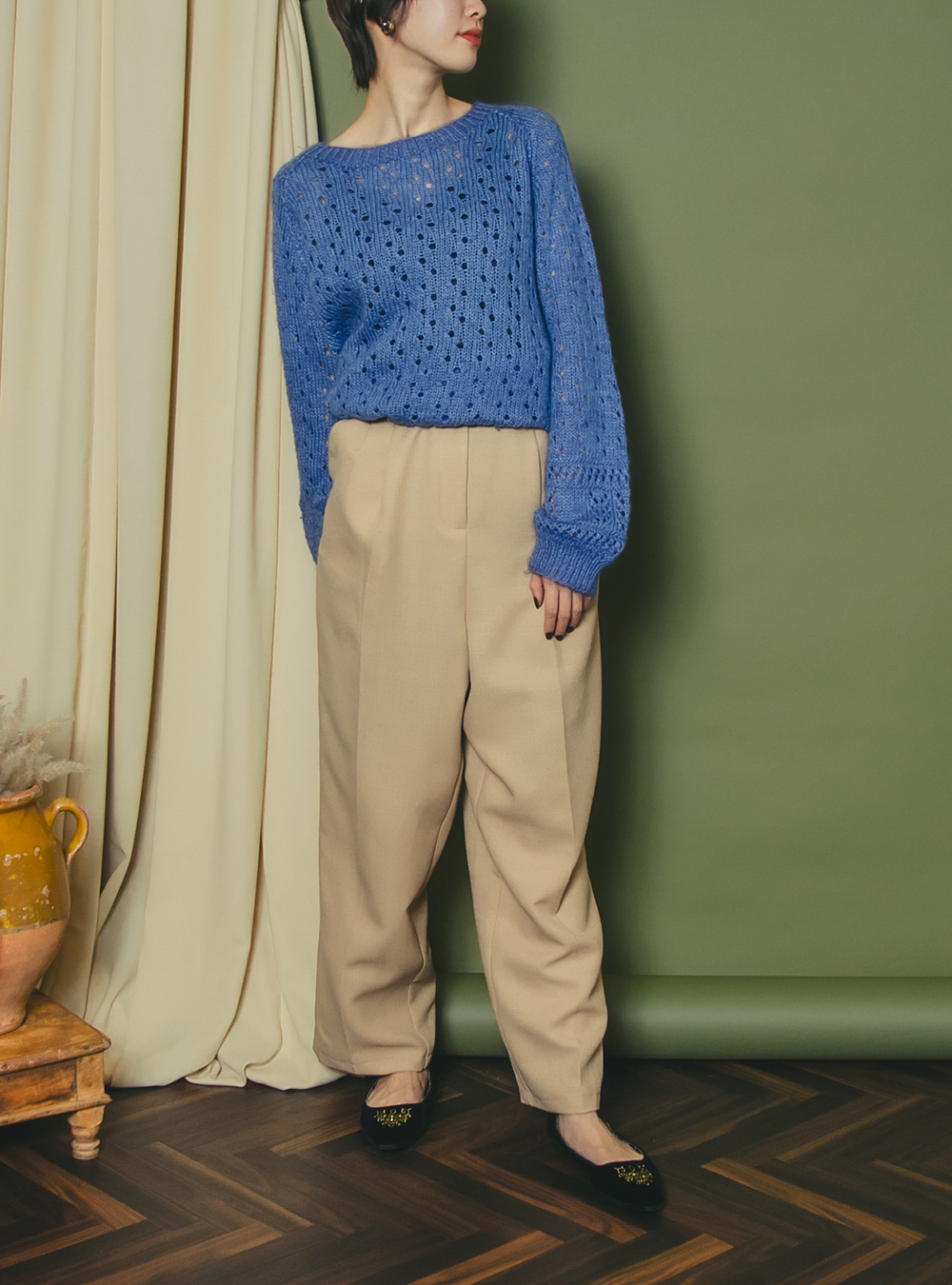 Beige Design Pants