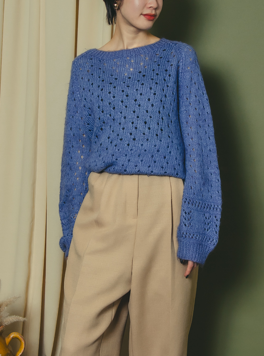 Blue Color Design Knit