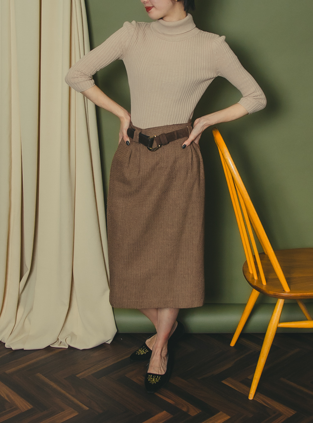Brown Glen Check Tight Skirt