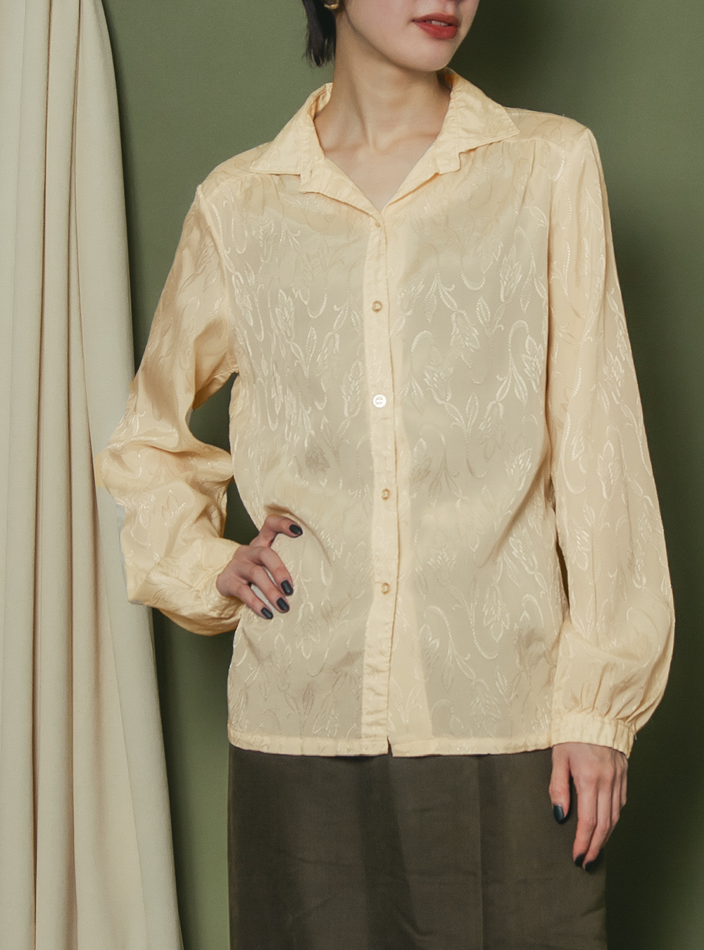 Ivory Beige Embroidery Blouse