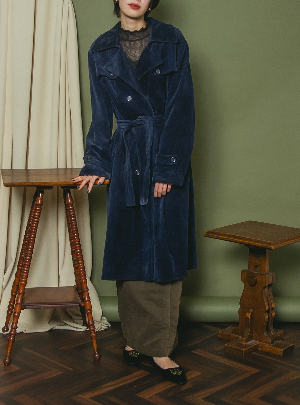 EURO 1970's Navy Design Corduroy Coat