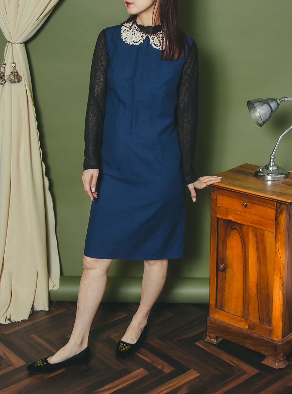 1950's Navy Lace Collar Design Dress