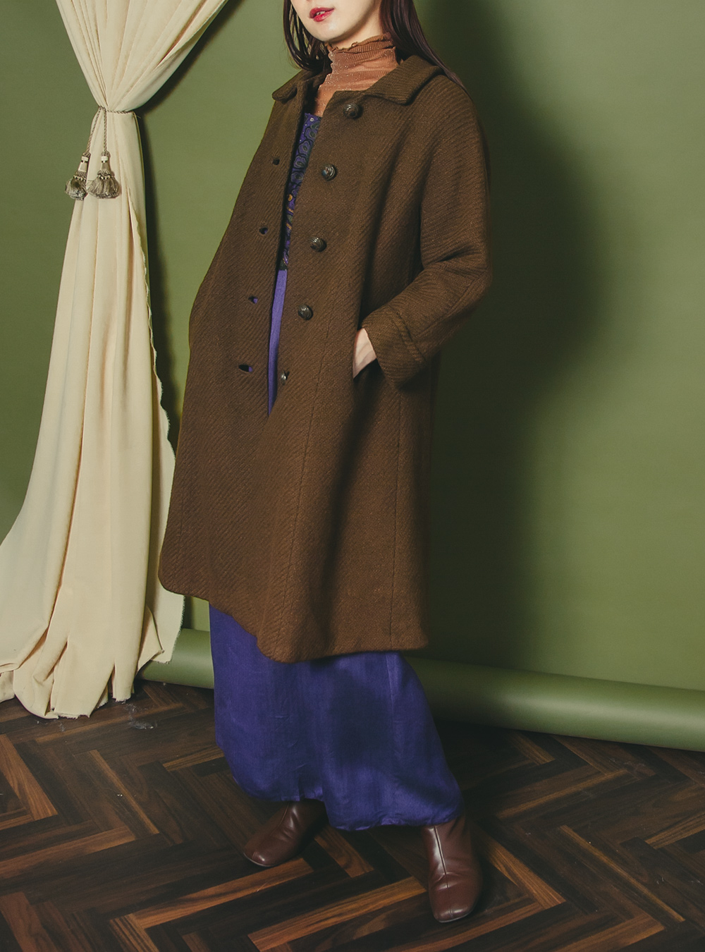 1960's Brown Color Wool Coat