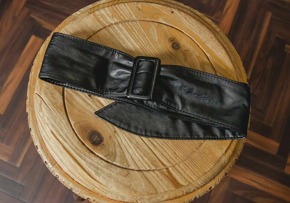 Black Fake Leather Belt