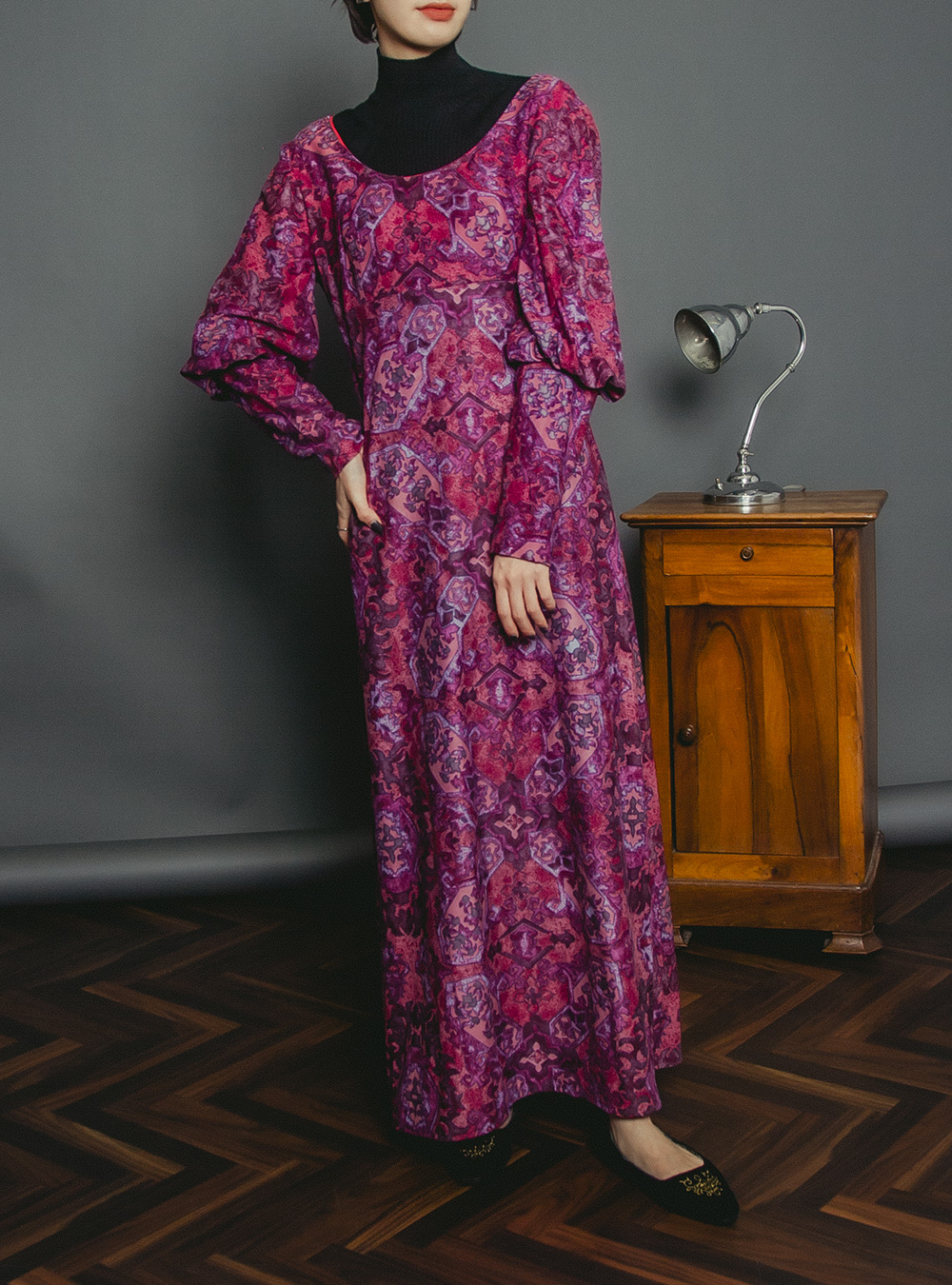 1970's  Purple Oriental Print Maxi Dress