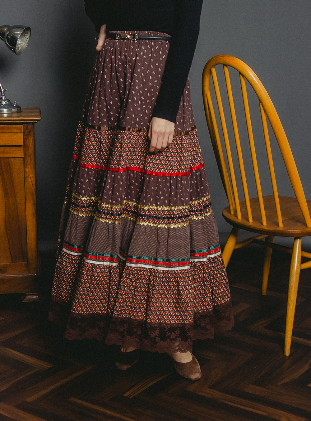 1970' Brown Ethnic Design Tiered Skirt