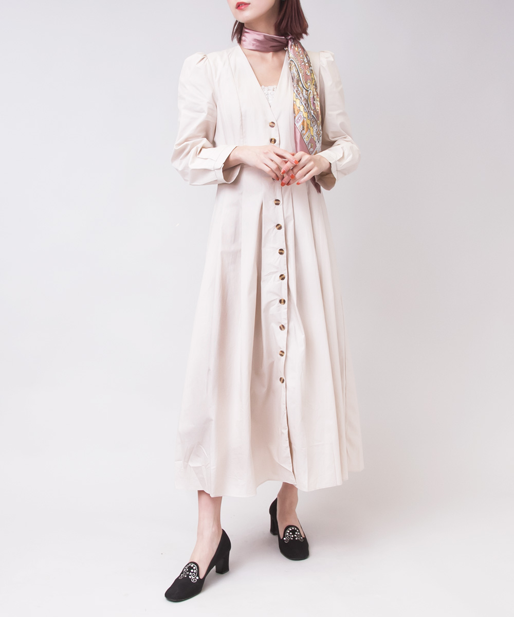 【SELECT ITEM】 Cotton Gown Dress - Beige-